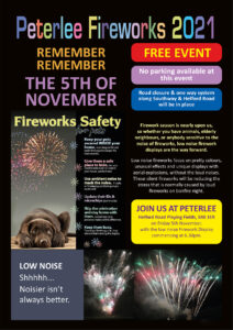 A flyer showing details of the Peterlee Fireworks event 2021